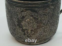 Persian Antique Sterling Silver Hand Made Ornate Tea Cup