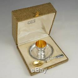 Puiforcat French Sterling Silver Egg Cup & Spoon Breakfast Set