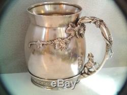 RARE ANTIQUE 1874 TIFFANY & CO STERLING SILVER CHILDS MUG CUP w FOX HANDLE LOOK