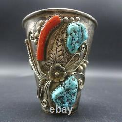 RARE Signed Vintage NAVAJO Sterling Silver TURQUOISE CORAL SHOT GLASS Cup Jigger