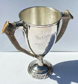 RARE Vintage Sterling Silver 1910 Governor's Cup Golf Trophy with Horn Handles