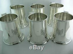 Rare 12 Sterling PORTER BLANCHARD Mint Julep Cups / Mugs with fox crest 113.03 ozt