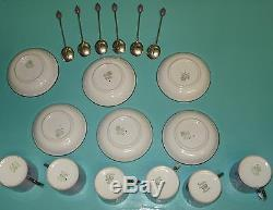 Rare Art Deco Nouveau Demitasse Aynsley Sterling silver overlay tea coffee cups