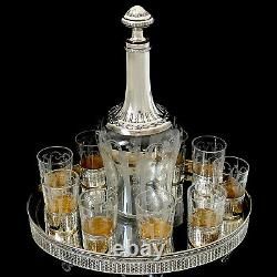 Rare French Sterling Silver 18k Gold Liquor Set, Decanter, Cups, Tray, Empire