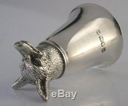 Rare Solid Sterling Silver Fox Stirrup Hunting Cup 1983
