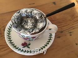 Raspberry Blackberry Nouveau STERLING SILVER Over cup Tea Strainer Figural Berry