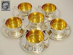 Ravinet Massive French Sterling Silver 18k Gold Six Coffee/Tea Cups withSaucers