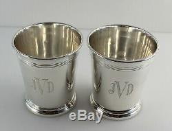 Reed & Barton H14 Sterling Silver Mint Julep Cups 3 5/8 Set of 2 withMono
