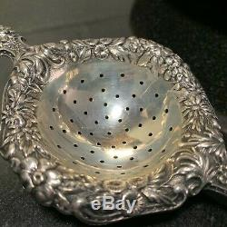 S. Kirk & Son Repousse 6 1/2 Solid Individual Over Cup Sterling Tea Strainer