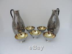SET RARE SIGNED JAPANESE SOLID STERLING SILVER 2 DECANTERS BOTTLES 5 CUPS 256 gr