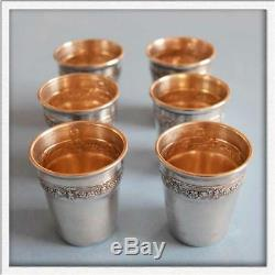 SUPERB Antique French Sterling SILVER 6 Pieces Set Tumblers Liquor Shot Cups