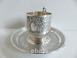 SUPERB & HEAVY ANTIQUE FRENCH STERLING SILVER 950 CUP & SAUCER 1890s 250 grams