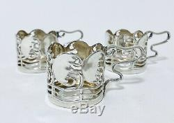 Set 3 Antique Solid Sterling Silver Mounted Glass Coffee Cups 1916 Art Nouveau