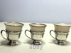 Set 6 LENOX Demitasse Tea Cups with Frank M. Whiting Sterling Silver Holders