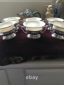Set Of 6 Gorham Sterling Maintenon Pattern Boullion Cups And Holders