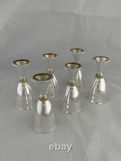 Set Of 6 Solid Silver Goblets / Wine Cups 1975 MAPPIN & WEBB London Sterling