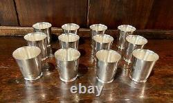 Set of (12) Tiffany & Co 925 Sterling Silver Mint Julep Derby Tumblers/Cups