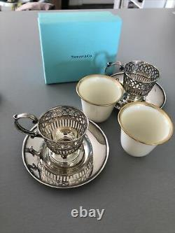 Set of 2 TIFFANY & CO. Sterling Silver Baskets & LENOX Demitasse Cup Inserts