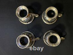 Set of 4 Sterling Silver Demitasse Cup Holders and Saucers with Lenox Cups 1986