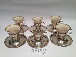 Set of 5 Sterling Silver Demitasse Cup Holders & LENOX Liners Cups 1 Extra