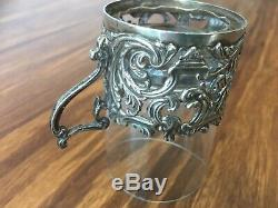 Set of 6 antique old coffee glass cups with sterling silver holders, 1900, London