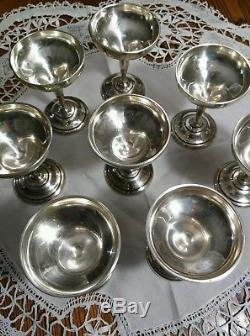 Set of 8 American Sterling Silver Wine Goblets Sherry Cups Total Weight 312.6 g