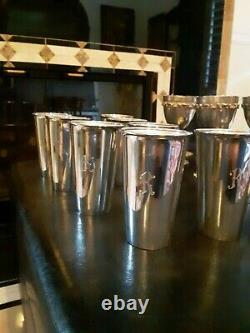 Solid Sterling Silver set of 8 mint julep cups glasses Tumblers Initial K 28+ oz