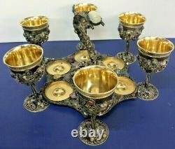 Sterling Silver 925 & Gold Plated Grape Design Wine Cups With Matching Tray