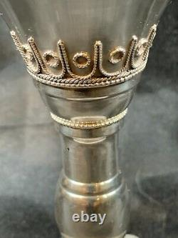 Sterling Silver 935 Turquoise Goblet Kiddush Cup Made In Israel Vintage Cup c765