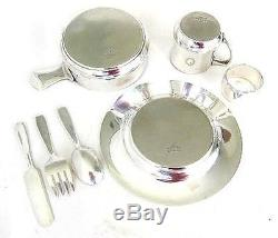 Sterling Silver TIFFANY Baby Set -Plate, Porringer, Cup, Ring & Flatware 22.20 toz