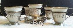 Sterling silver demitasse cup and saucer with porcelain liner (set of 6)