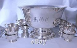 Stieff Sterling Silver Punch Bowl and Cups 13 Pc Set