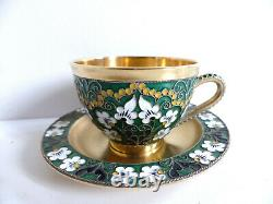 Superb Russian Soviet Gilt Enamel Sterling Silver 916 Cup & Saucer (more Avail.)