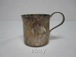 TIFFANY & CO HEAVY STERLING SILVER BABY CUP with FANCY ENGRAVED MONOGRAM ALK
