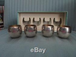 TIFFANY Co Cordial Cup SET of 4 BOXED Sterling SILVER 925 NO MONO Bar 25005