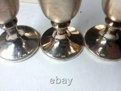 Three Wine Goblet Cups Vintage Soviet Russian Sterling Silver 916 Etched 122.6gr