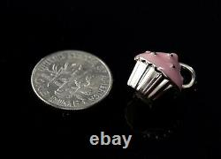 Tiffany & Co 925 Sterling Silver Cup Cake Pink Charm Pendant Necklace