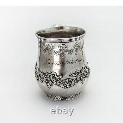 Tiffany Co Floral Swag Childs Cup Mug Sterling Silver 1900s