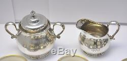 Tiffany & Co. Sterling Silver Cup & Saucer Sets (10) with Inserts + Cream & Sugar