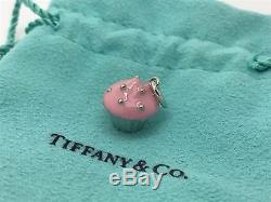 Tiffany Co Sterling Silver Enamel Pink Cupcake Cup Cake Charm Pendant