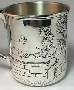 Tiffany Sterling Silver Childs Cup Nursery Rhymes Boy With Dog Girl With Cat