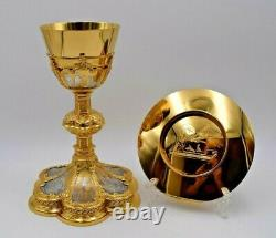 +Traditional Gothic Chalice + Two Tone Gold & Silver + Cup Sterling, With Paten