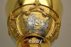 +Traditional Gothic Chalice + Two Tone Gold & Silver + Cup Sterling (With Paten)