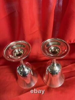 Two Antique Wallace Sterling Silver Water Wine Goblets Chalice Cup Pattern #16