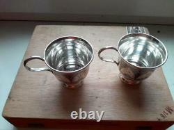 Two Tea Coffee Cups Vintage Sterling Silver 925 Kubachi Etching Signed 144 gr