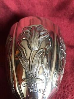 Unique Georgian 5 sided Floral Repousse Sterling Silver Goblet/Chalice/Cup