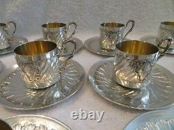 Very rare & exceptional french sterling silver 12 coffee cups rococo st Coignet