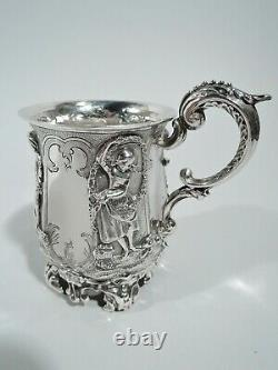 Victorian Mug Antique Christening Baby Cup English Sterling Silver 1841
