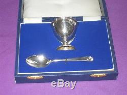 Vintage 1985 Cased Solid Sterling Silver Christening Egg Cup And Spoon