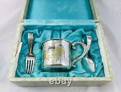 Vintage 950 Sterling Silver Baby Cup Mug Fork Spoon Set Pouty Face Cat withToys
